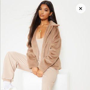 Taupe Oversized Fur Jacket